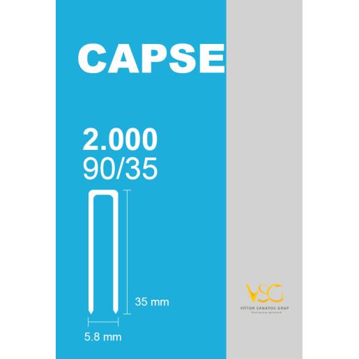 Capse tip U 90/35 pentru capsator pneumatic, 2000 buc/cutie